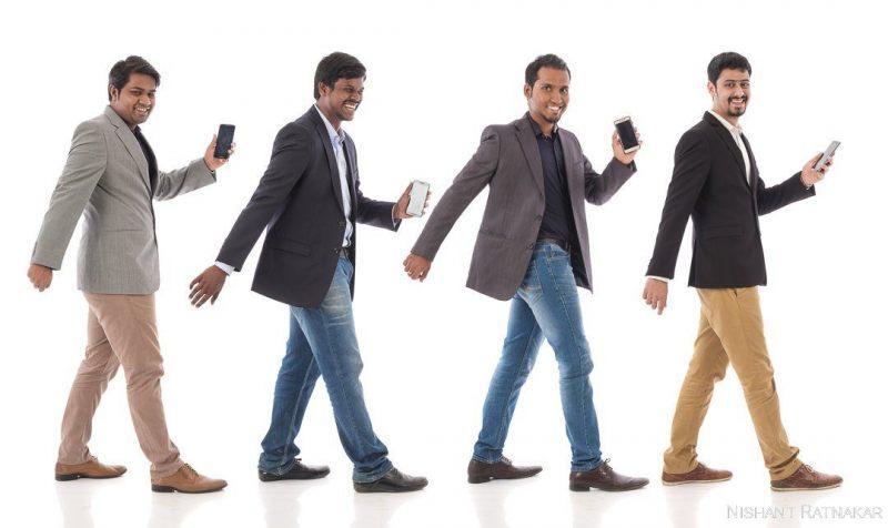 Cofounders of Perpule app, Abhinav Pathak, Saketh BSV, Yogesh Ghaturle and Sathya. Bangalore. January 2018. Photograph by Nishant Ratnakar