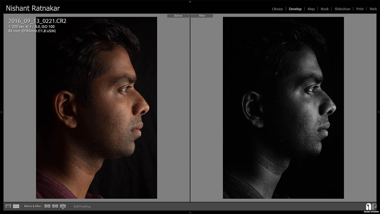Lightroom Edits Before After View of Develop Mode