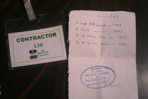 My contractor badge and List of things I was carrying inside.