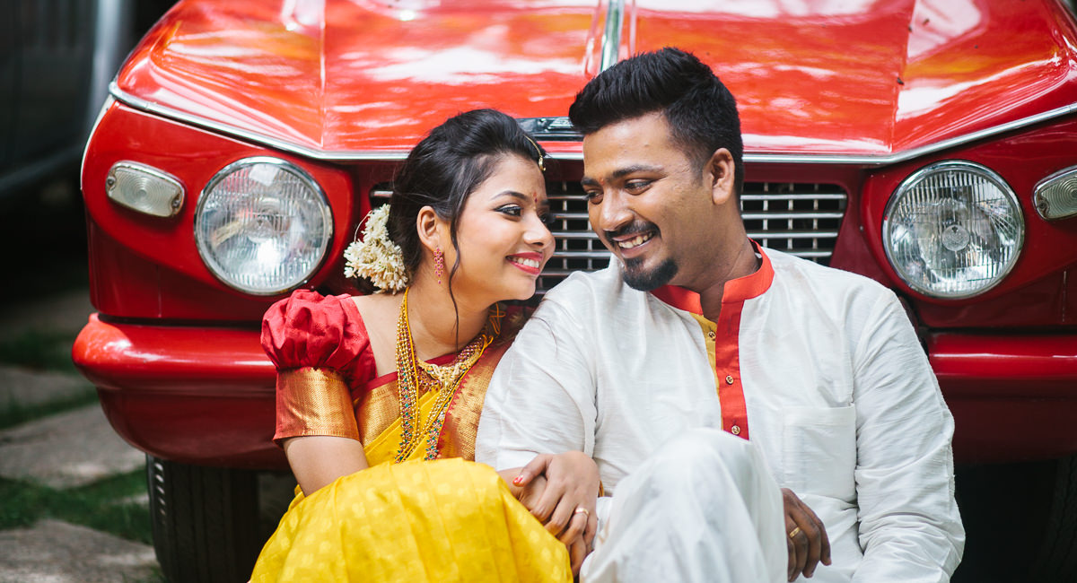 Wedding Portrait of the couple at Sommer house Bangalore